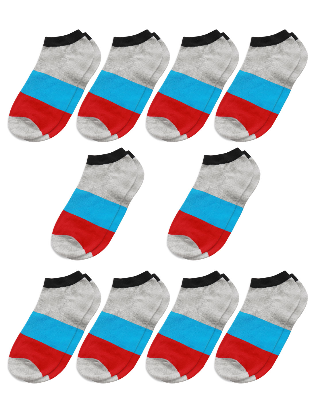 Men Low Cut Ankle Length Color Block Short Socks 10 Pairs Red M