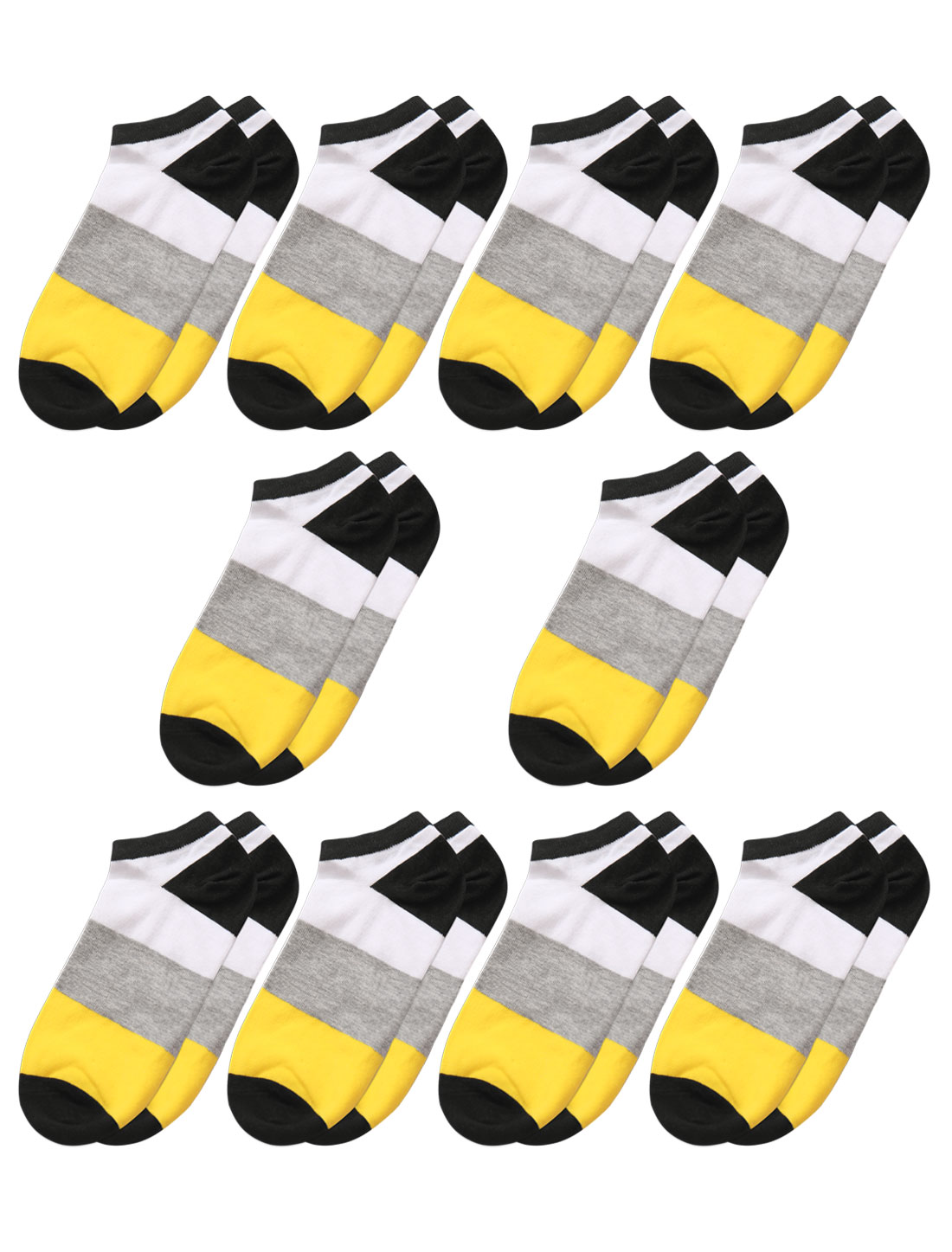 Men Low Cut Ankle Length Color Block Short Socks 10 Pairs Yellow M