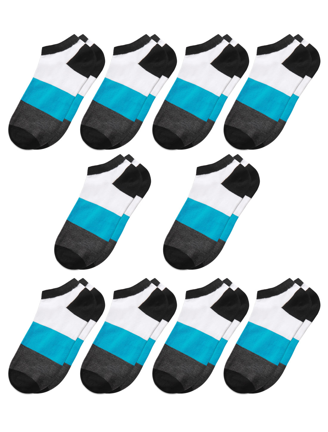 Men Low Cut Ankle Length Color Block Short Socks 10 Pairs Gray M