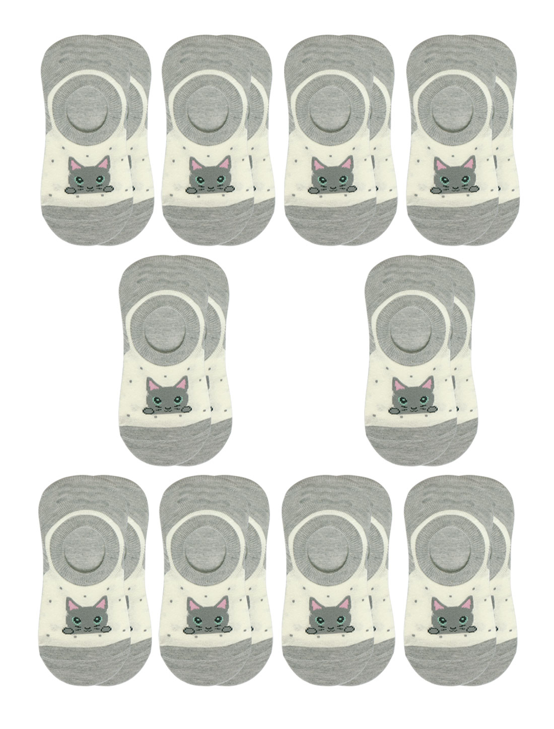 Girls Cat Letter Print Low Cut Elastic Cuffs Short Socks 10 Pairs Gray 7-9