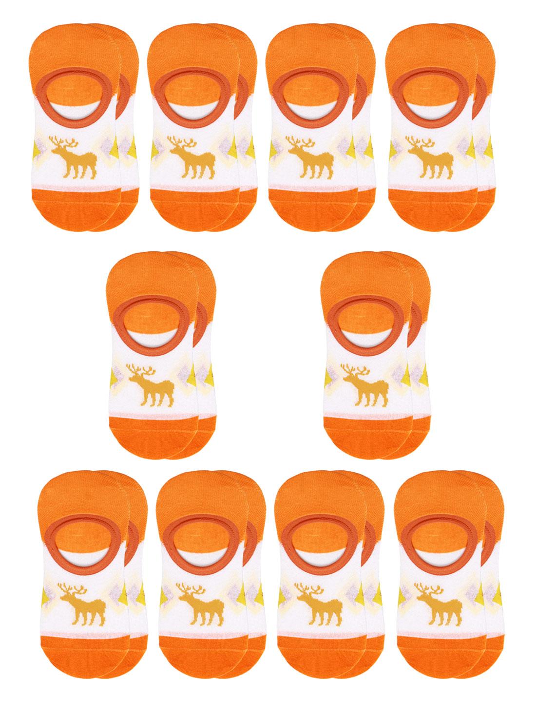 Women No Show Contrast Color Argyle Deer Pattern Boat Socks 10 Pairs Orange M
