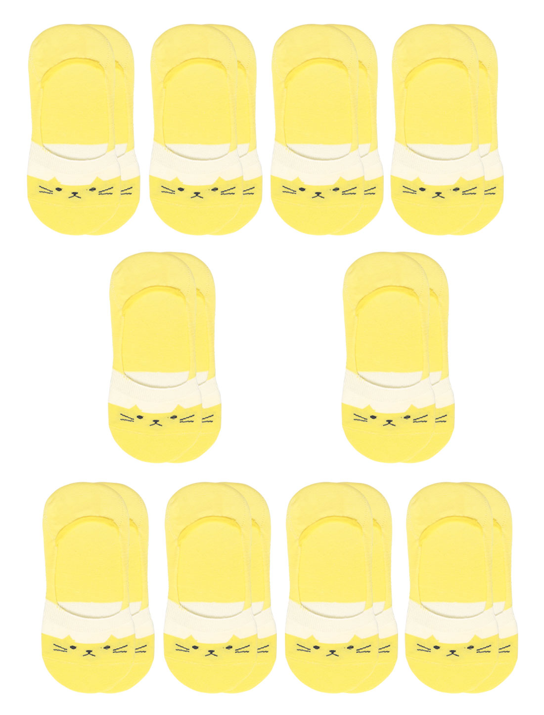 Women Cat Pattern Low Cut Elastic Cuffs Boat Socks 10 Pairs Yellow 7-9