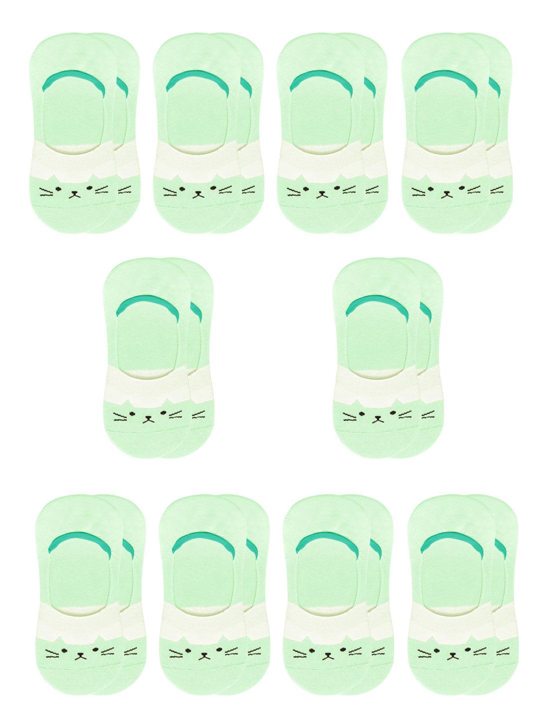 Women Cat Pattern Low Cut Elastic Cuffs Boat Socks 10 Pairs Green 7-9