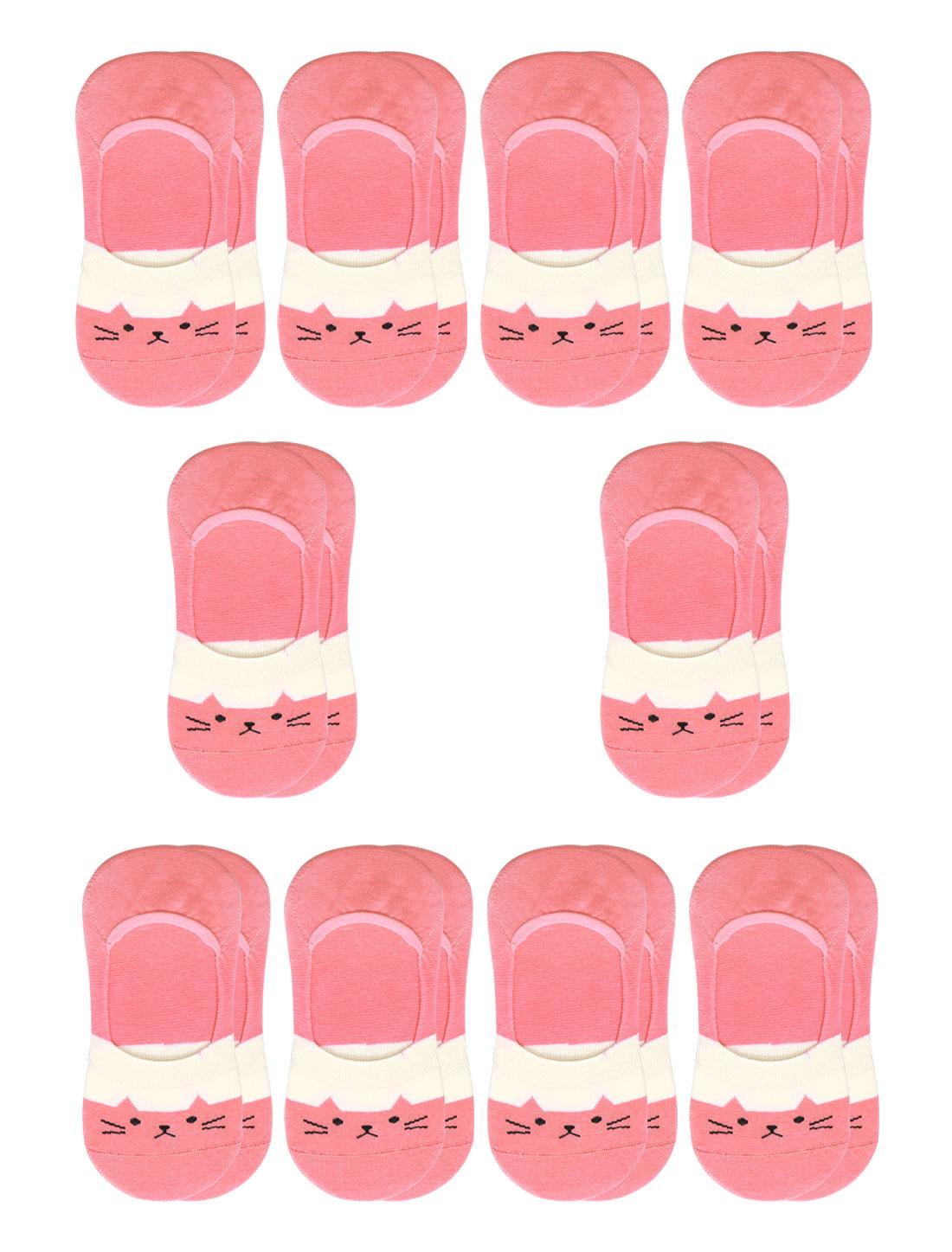 Women Cat Pattern Low Cut Elastic Cuffs Boat Socks 10 Pairs Pink 7-9