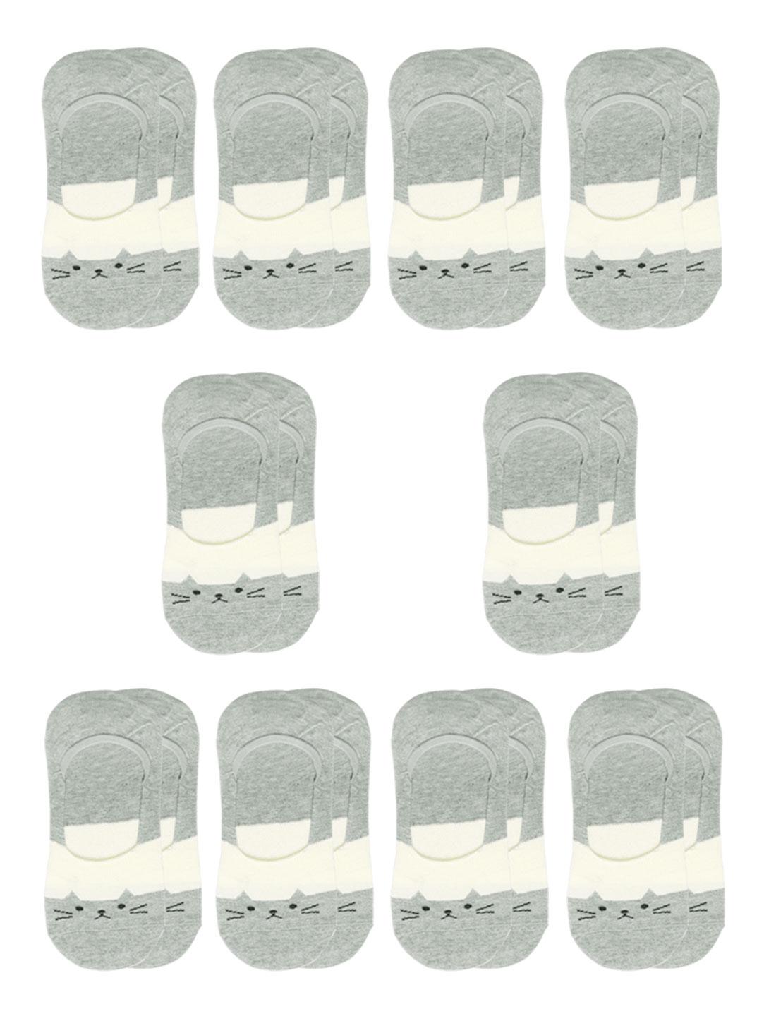 Women Cat Pattern Low Cut Elastic Cuffs Boat Socks 10 Pairs Gray 7-9