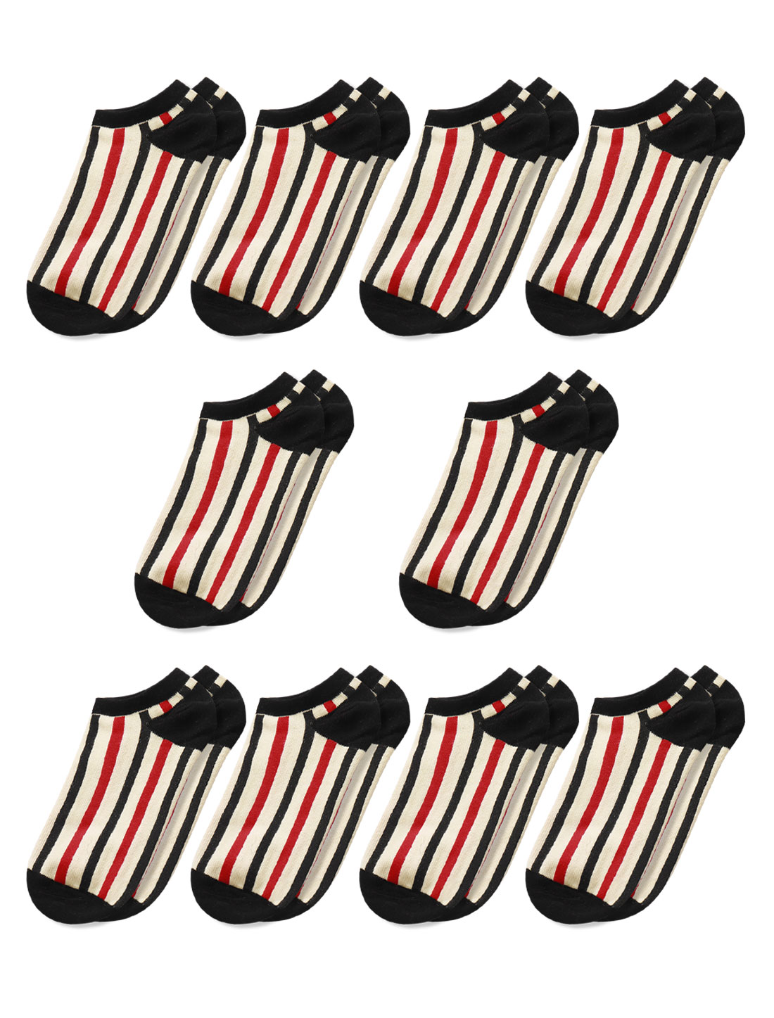 Men Low Cut Stripes Ankle Length Short Socks 10 Pairs Black Red M