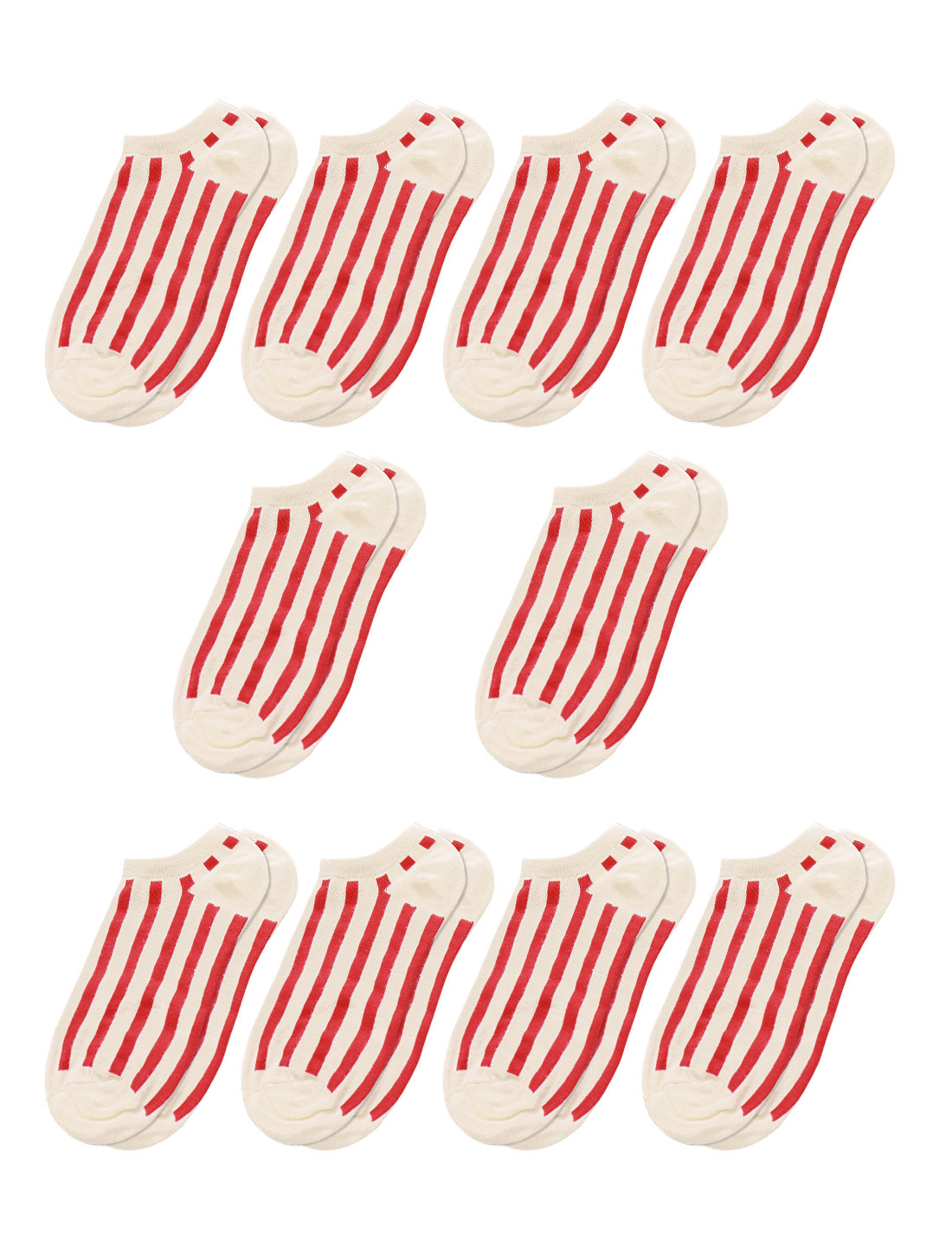 Men Low Cut Stripes Ankle Length Short Socks 10 Pairs Red M