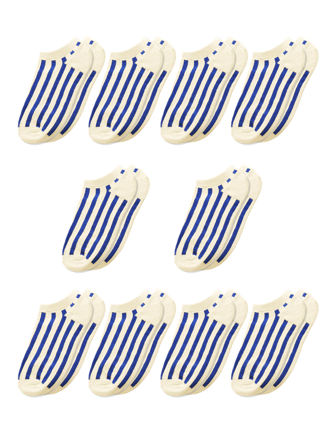 Men Low Cut Stripes Ankle Length Short Socks 10 Pairs Blue M