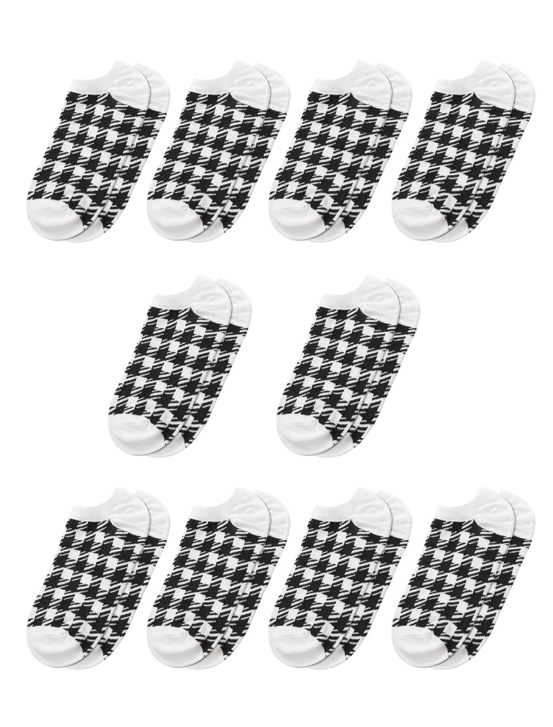 Women Low Cut Plaids Ankle Length Short Socks 10 Pairs Black 9-11