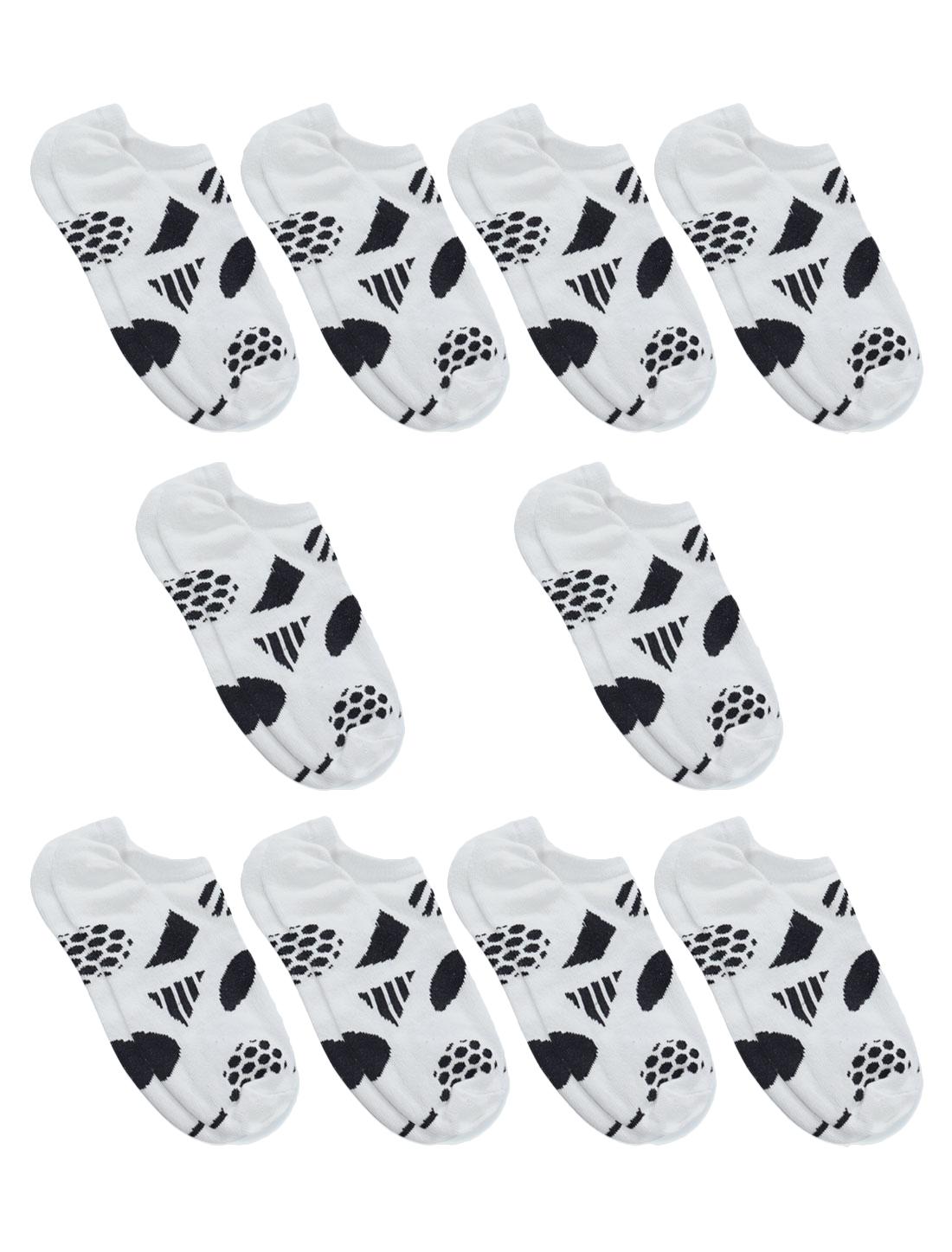 Women Low Cut Geometric Print Ankle Length Short Socks 10 Pairs White 9-11