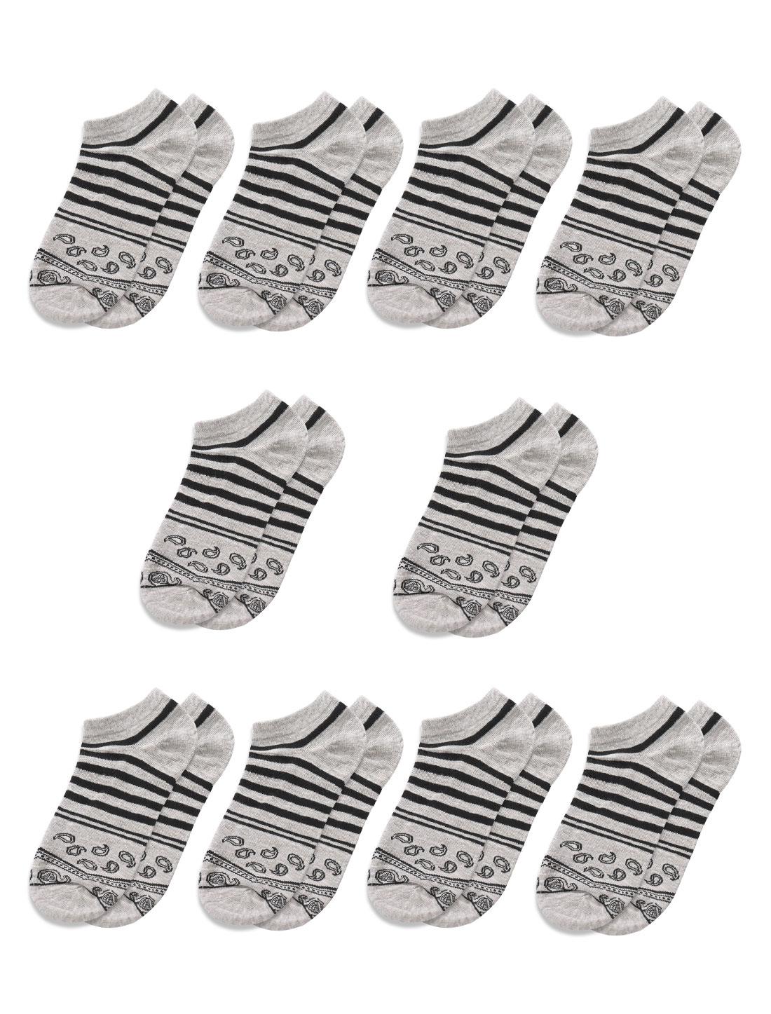 Men Stripes Paisleys Pattern Low Cut Short Socks 10 Pairs Gray M