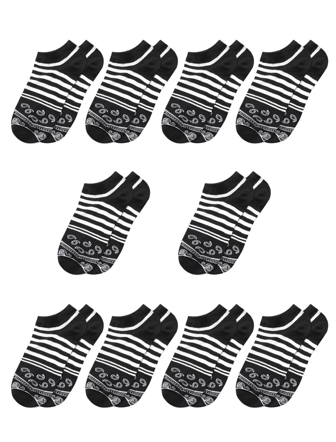 Men Stripes Paisleys Pattern Low Cut Short Socks 10 Pairs Black M