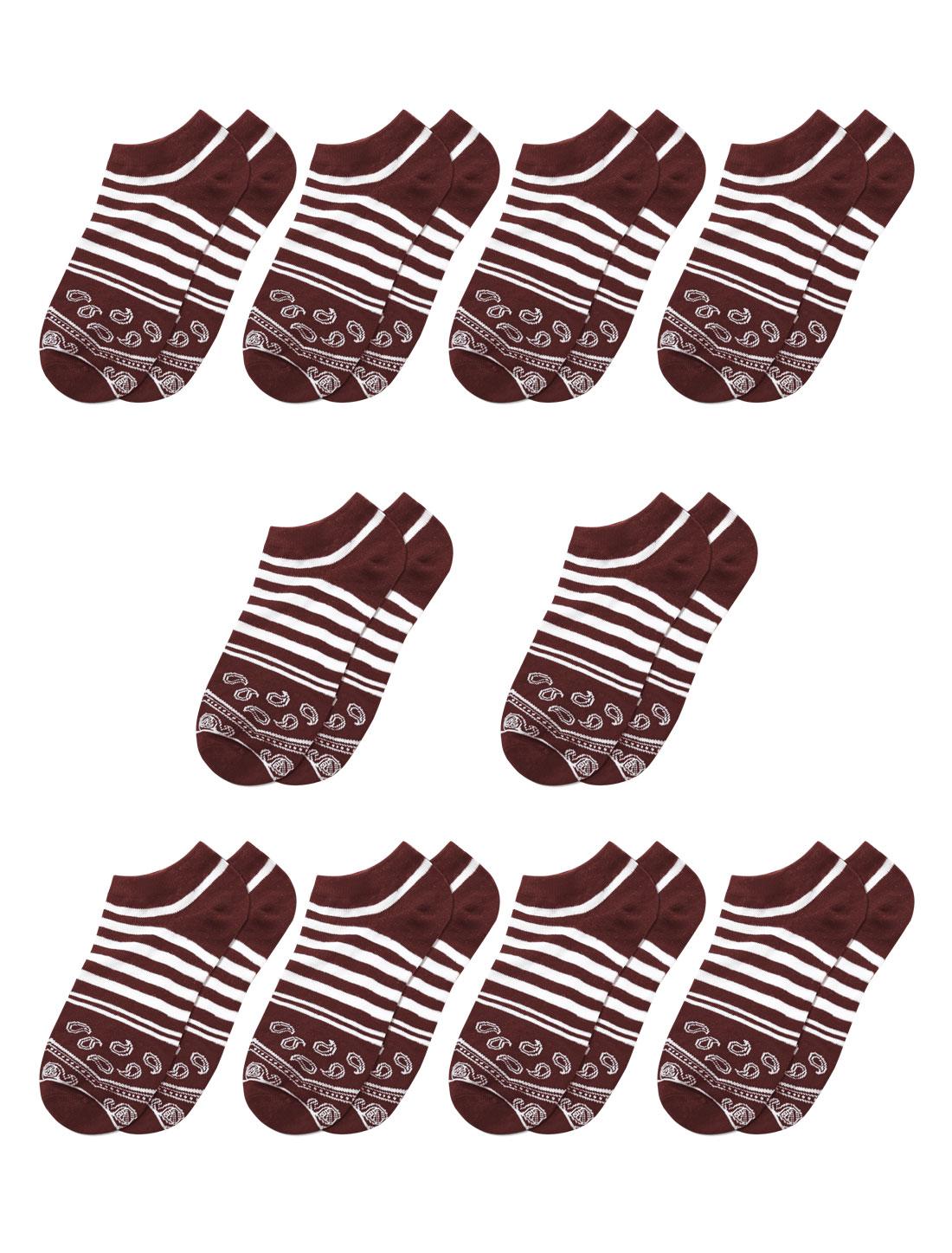 Men Stripes Paisleys Pattern Low Cut Short Socks 10 Pairs Red M