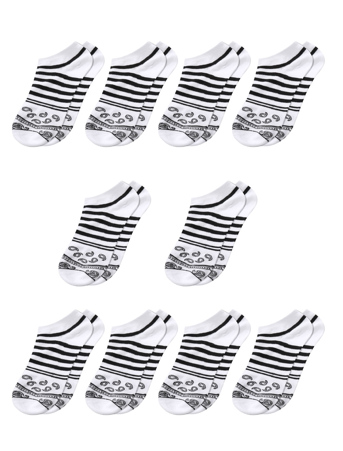 Men Stripes Paisleys Pattern Low Cut Short Socks 10 Pairs White M