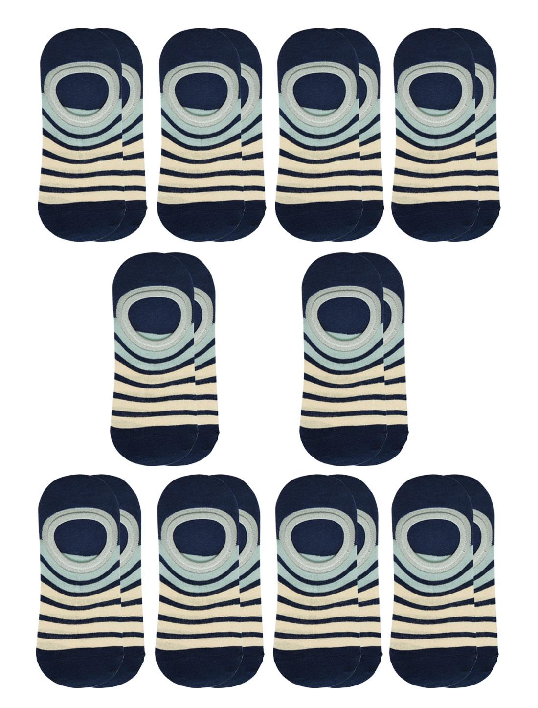 Women Stripes Low Cut Contrast Color No Show Socks 10 Pairs Blue M