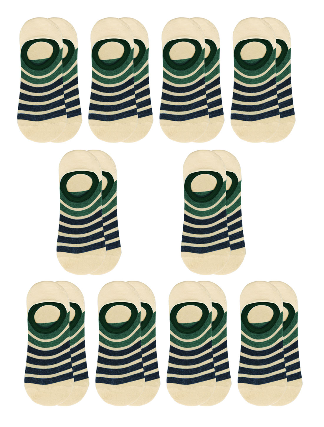 Women Stripes Low Cut Contrast Color No Show Socks 10 Pairs Green M