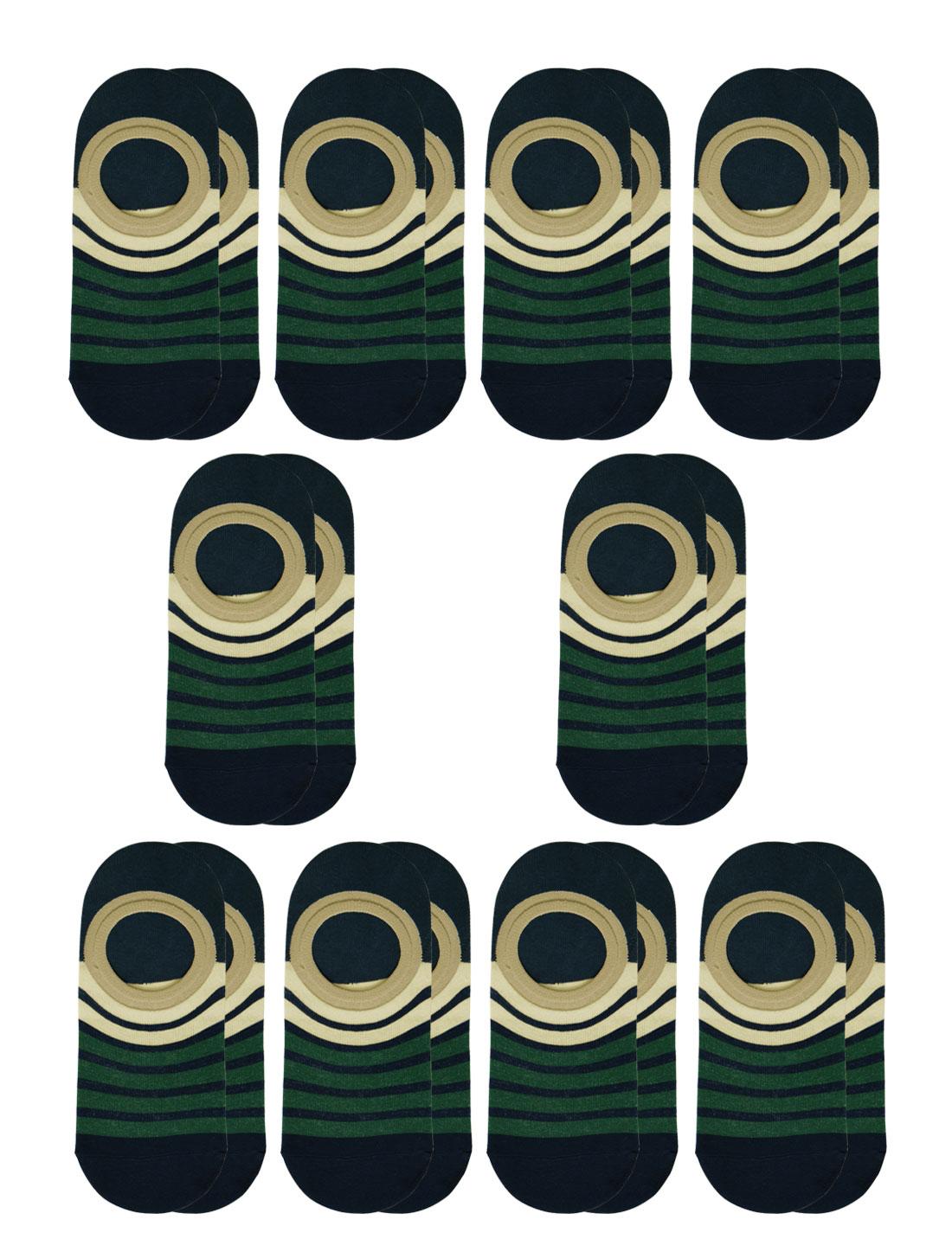 Women Stripes Low Cut Contrast Color No Show Socks 10 Pairs Beige M