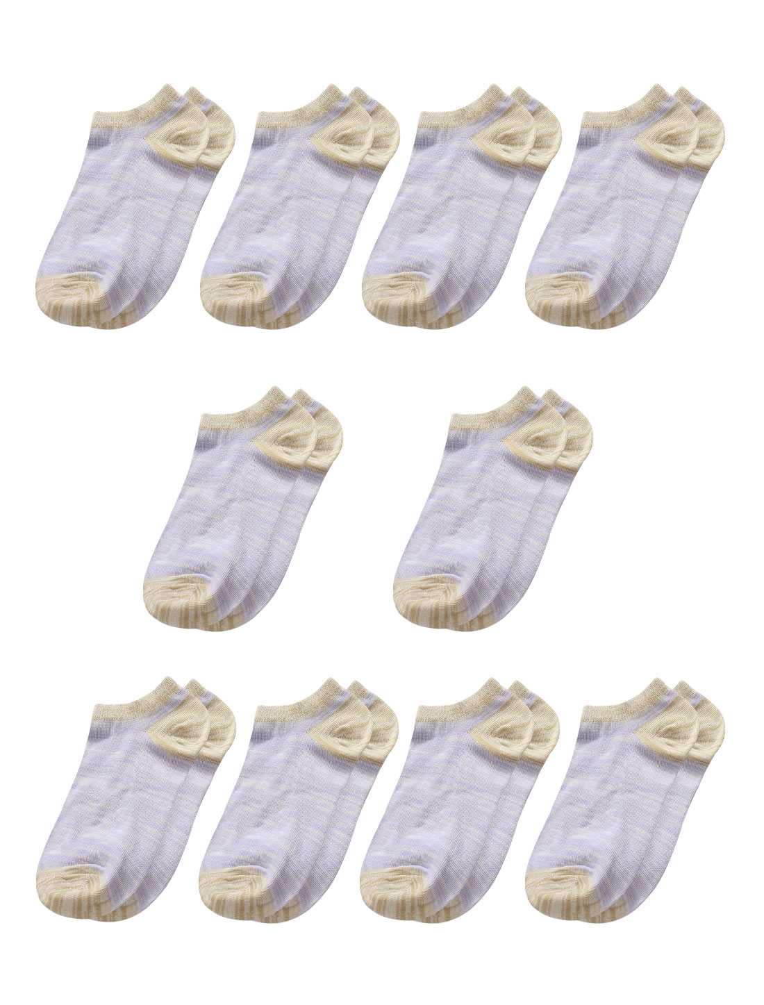 Women Contrast Color Low Cut Ankle Length Short Socks 10 Pairs Purple 7-9