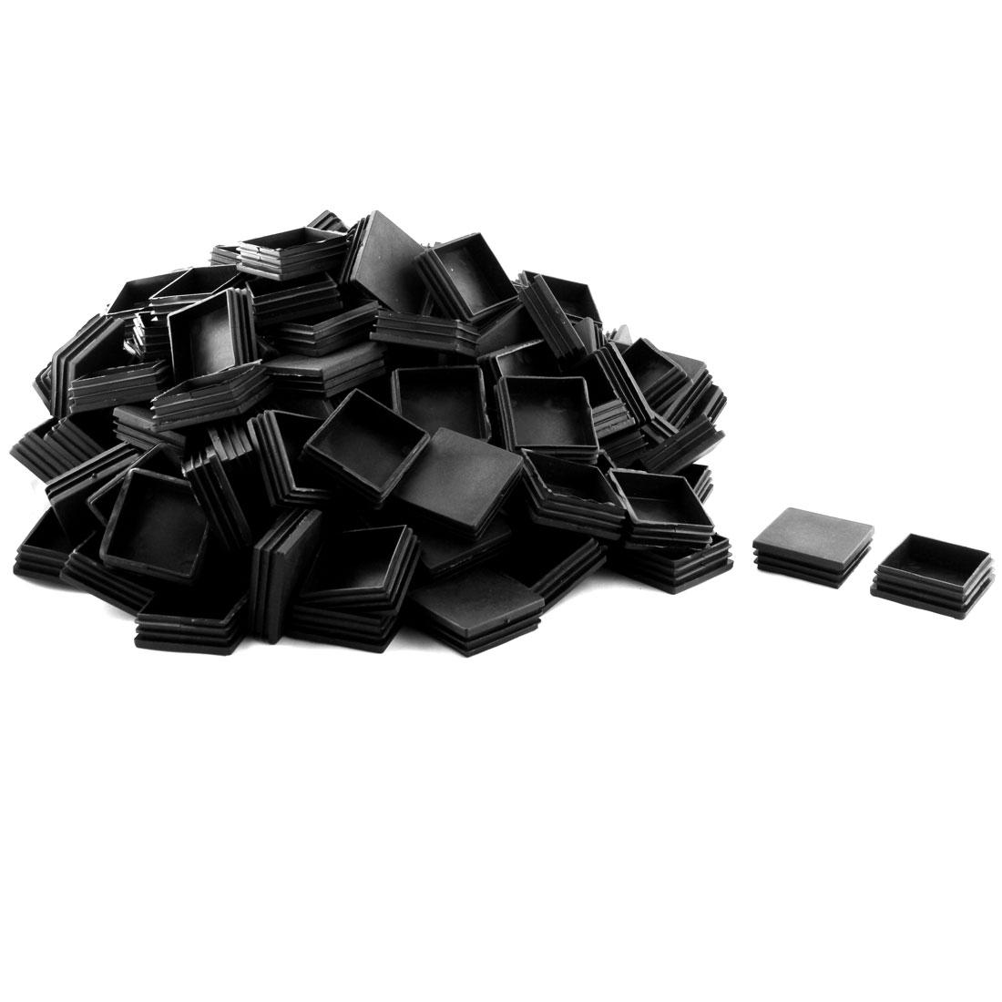 Furniture Desk Chair Leg Plastic Square Tube Insert Caps Black 60 x 60mm 145 Pcs