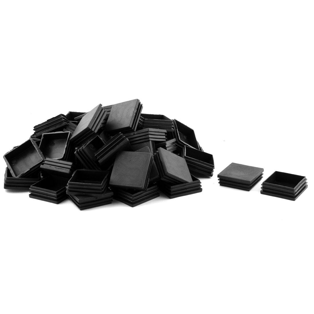 Plastic Square Threaded Furniture Desk Chair Leg Tube Insert Caps Black 60 x 60mm 50 Pcs