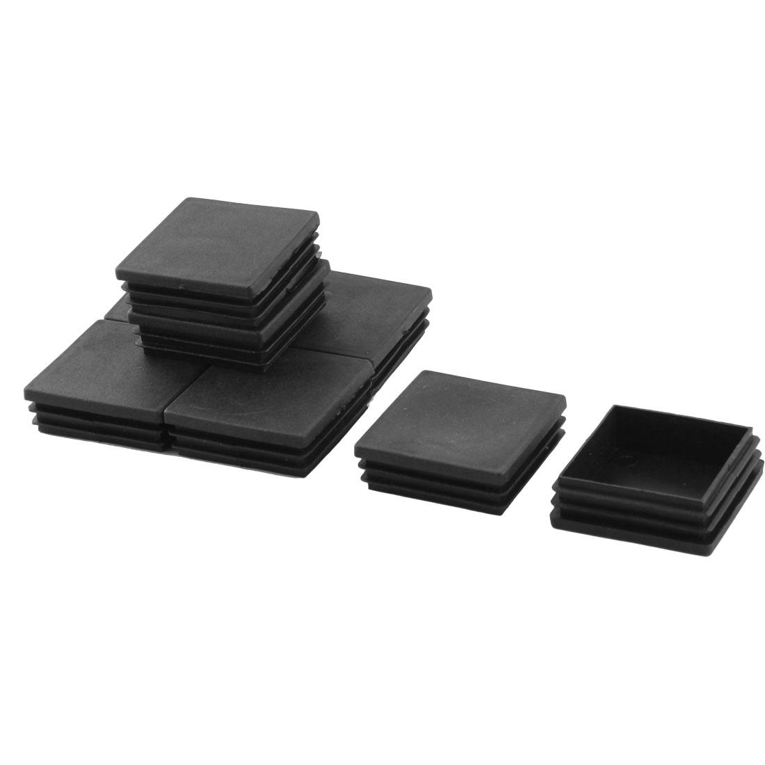 Home Office Plastic Square Table Chair Leg Tube Inserts Black 60 x 60mm 8pcs