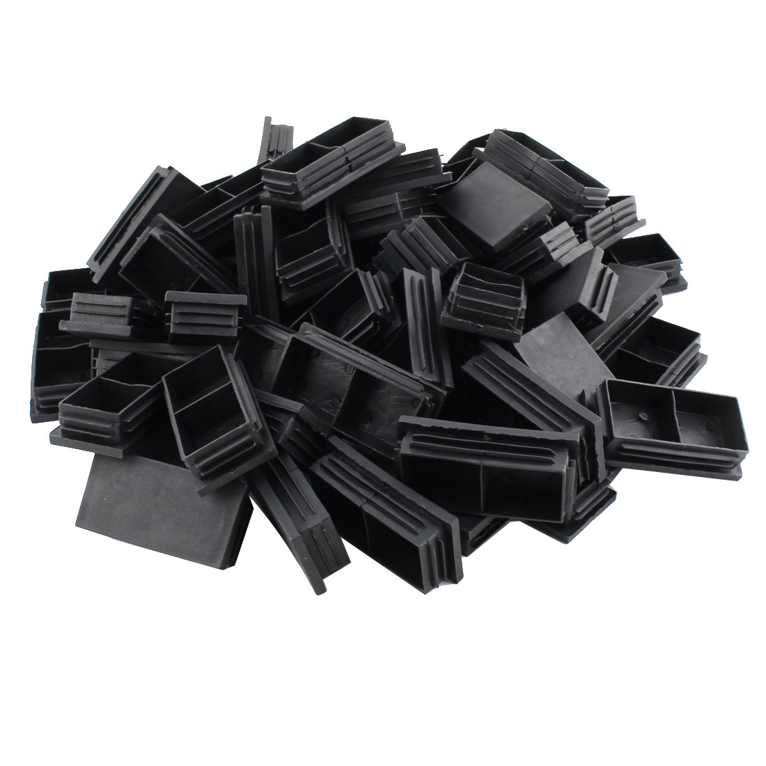 Household Office Plastic Rectangle Shaped Table Chair Legs Tube Insert Black 60 Pcs