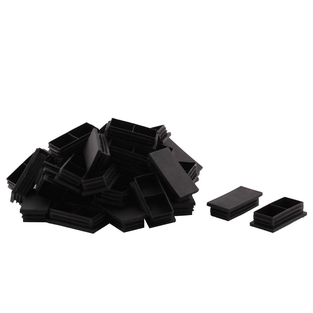 Plastic Rectangle Two Compartments Table Chair Leg Feet Tubing Tube Insert Caps Covers Black 80 x 40mm 40pcs