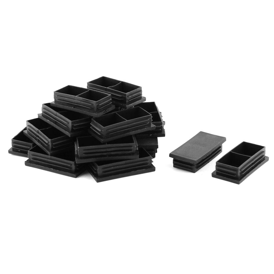 Household Plastic Rectangle Shape Desk Chair Leg Tube Insert Caps Black 80 x 40mm 20 Pcs