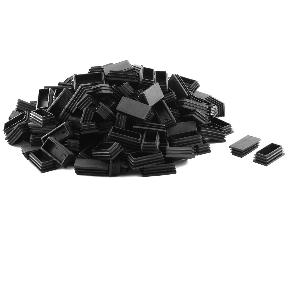 Plastic Rectangle Design Tube Insert End Blanking Cover Cap Black 30 x 59mm 200pcs