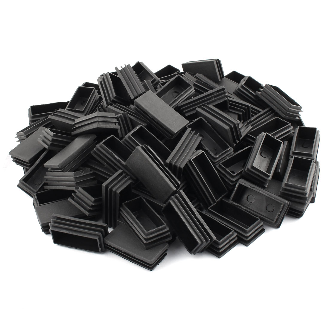 Home Office Plastic Rectangle Shaped Table Chair Legs Tube Insert Black 59 x 30mm 100 Pcs