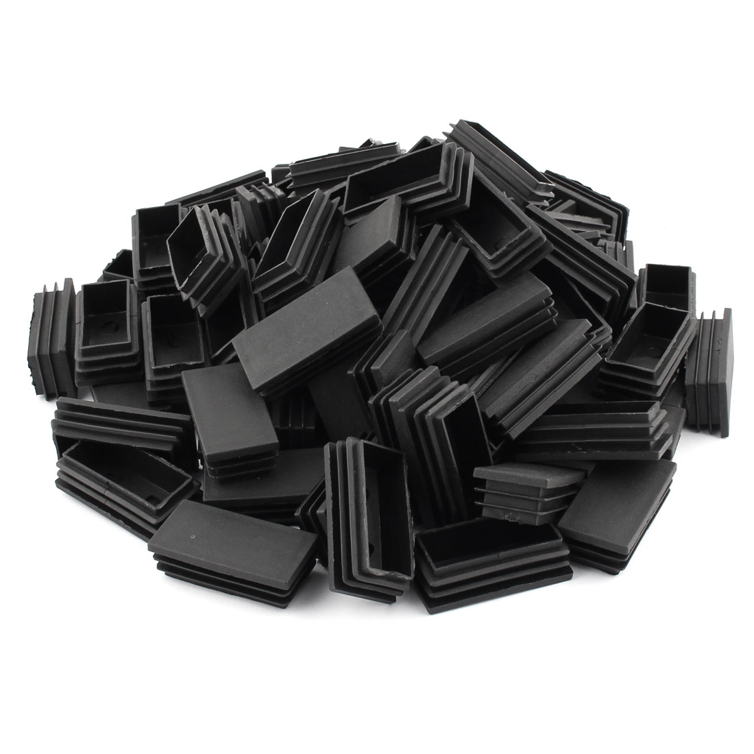 Home Plastic Rectangle Shaped Furniture Legs Tube Insert Black 59 x 30mm 80 Pcs