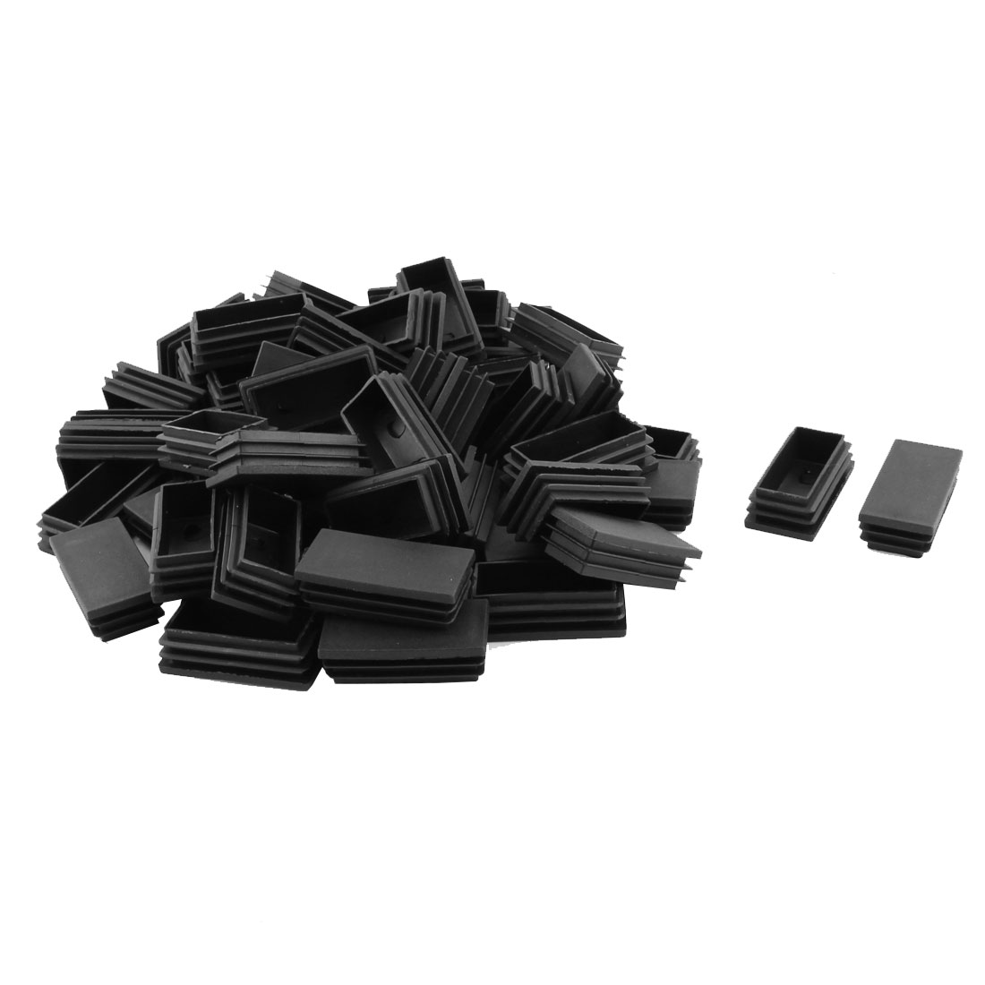 Home Office Plastic Rectangle Shaped Furniture Chair Legs Tube Insert Black 60 Pcs