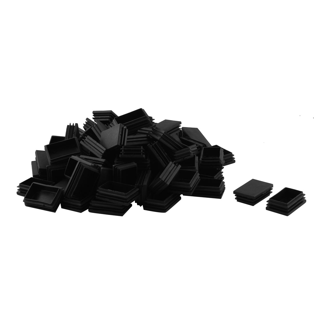 Plastic Rectangle Design Tube Insert End Blanking Cover Cap Black 40 x 59mm 80pcs