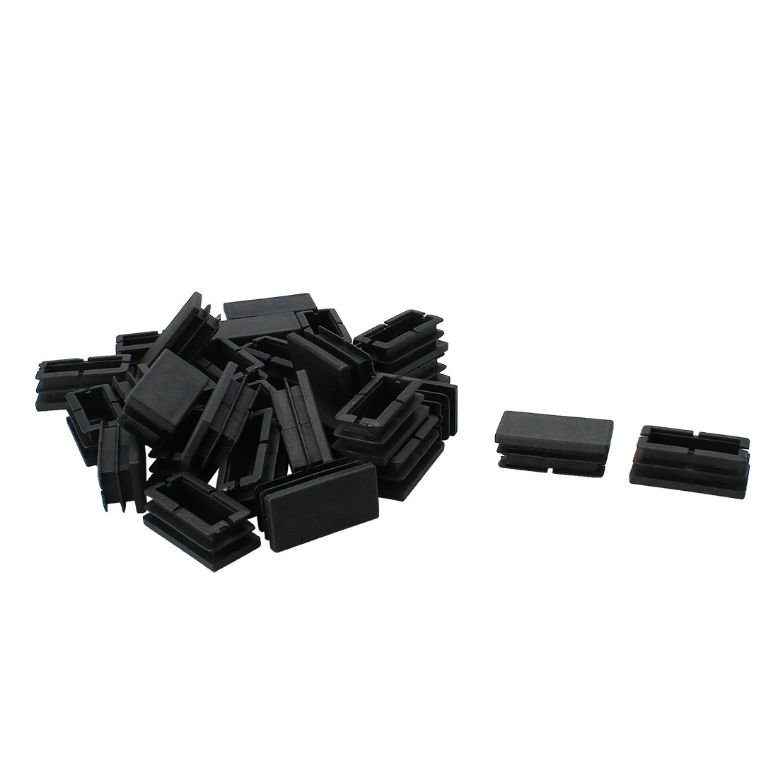 Plastic Rectangle Design Tube Insert End Blanking Cover Cap Black 20 x 40mm 30pcs