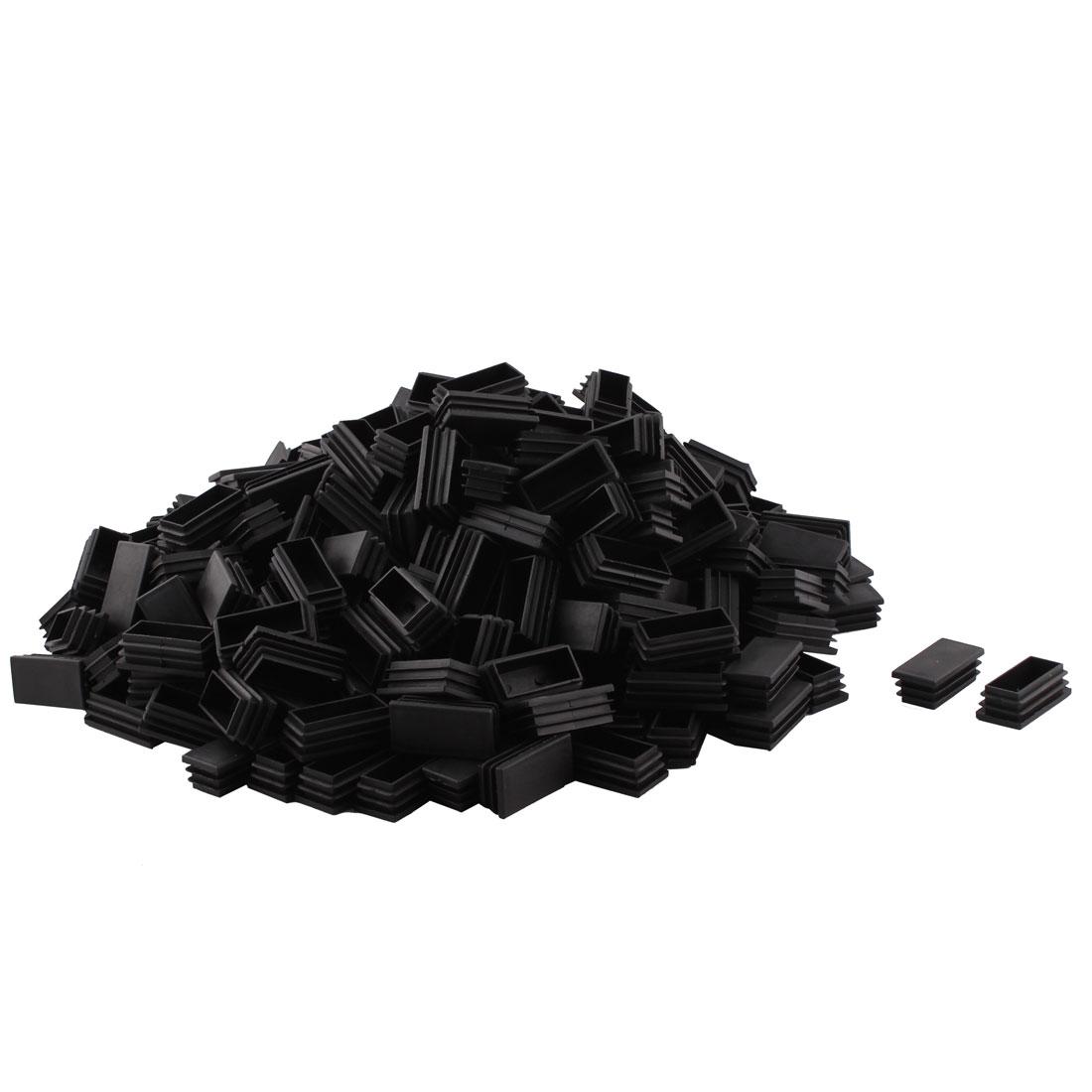 Plastic Rectangle Design Tube Insert End Cover Cap Black 25 x 49mm 300pcs