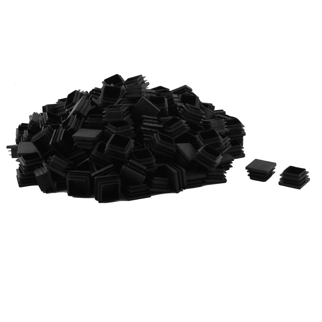 Plastic Square Design Tube Insert End Blanking Cover Cap Black 32 x 32mm 200pcs