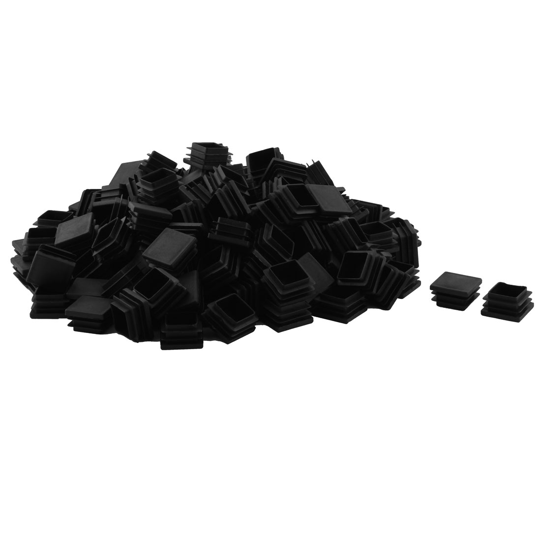 Plastic Square Design Tube Insert End Blanking Cover Cap Black 32 x 32mm 150pcs