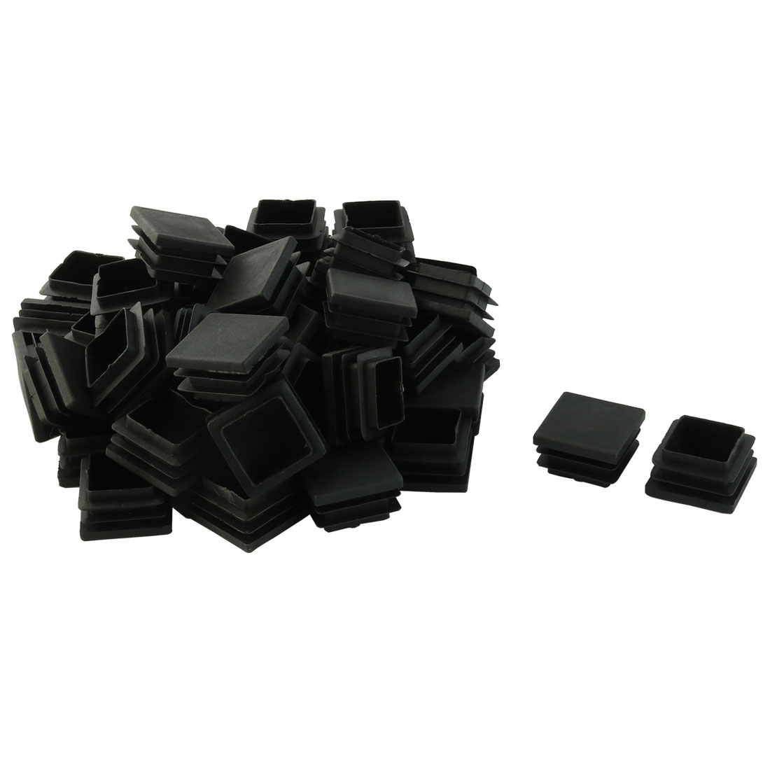 Plastic Square Design Tube Insert End Blanking Cover Cap Black 32 x 32mm 50pcs