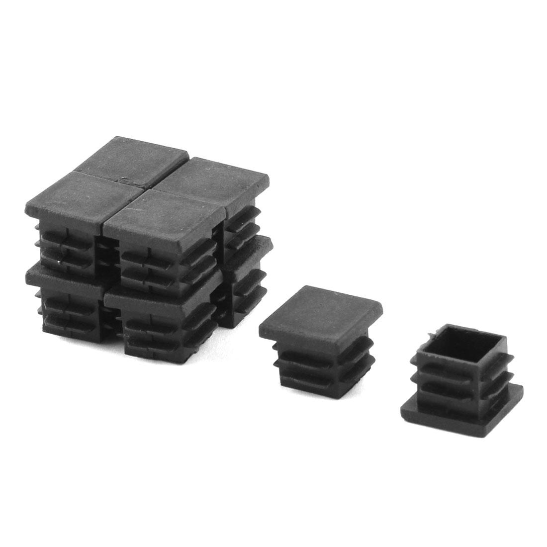 Plastic Square Design Tube Insert End Blanking Cover Cap Black 19 x 19mm 10pcs