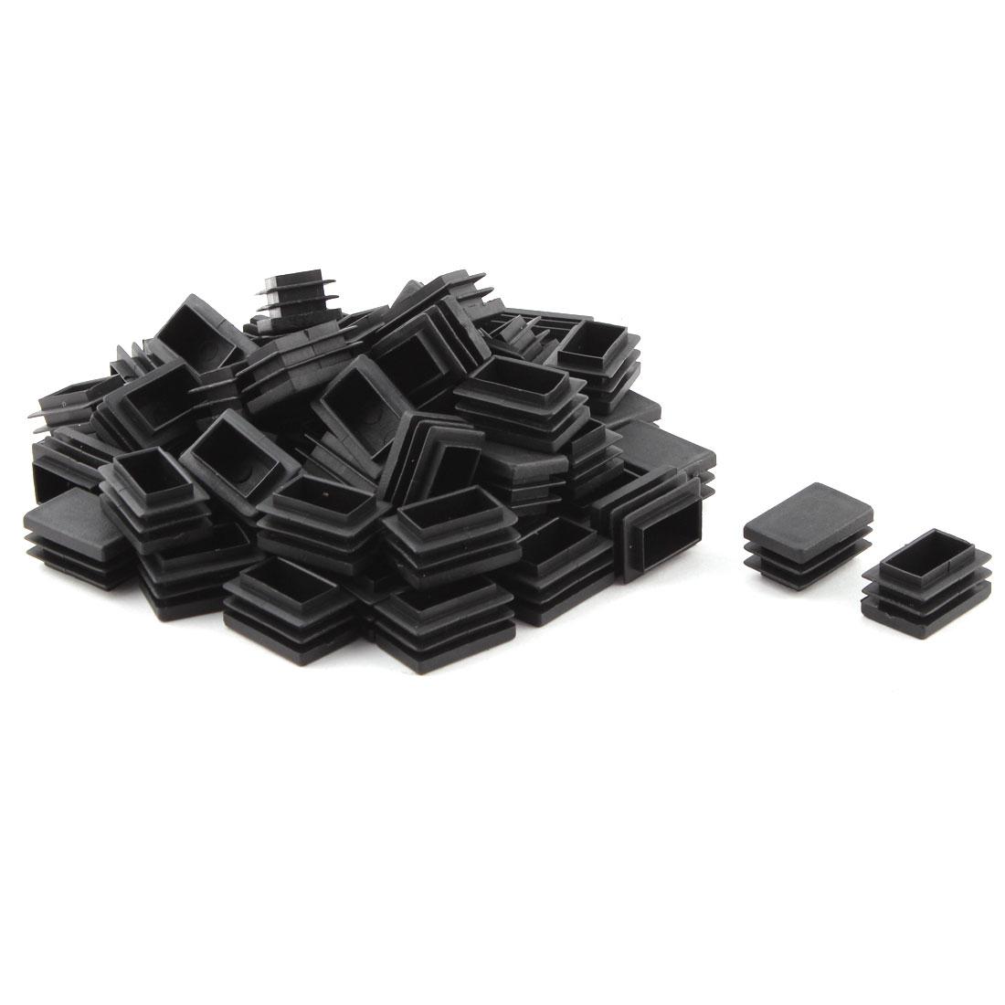 Home Office Plastic Rectangle Table Chair Leg Tube Insert Black 20 x 30mm 60pcs