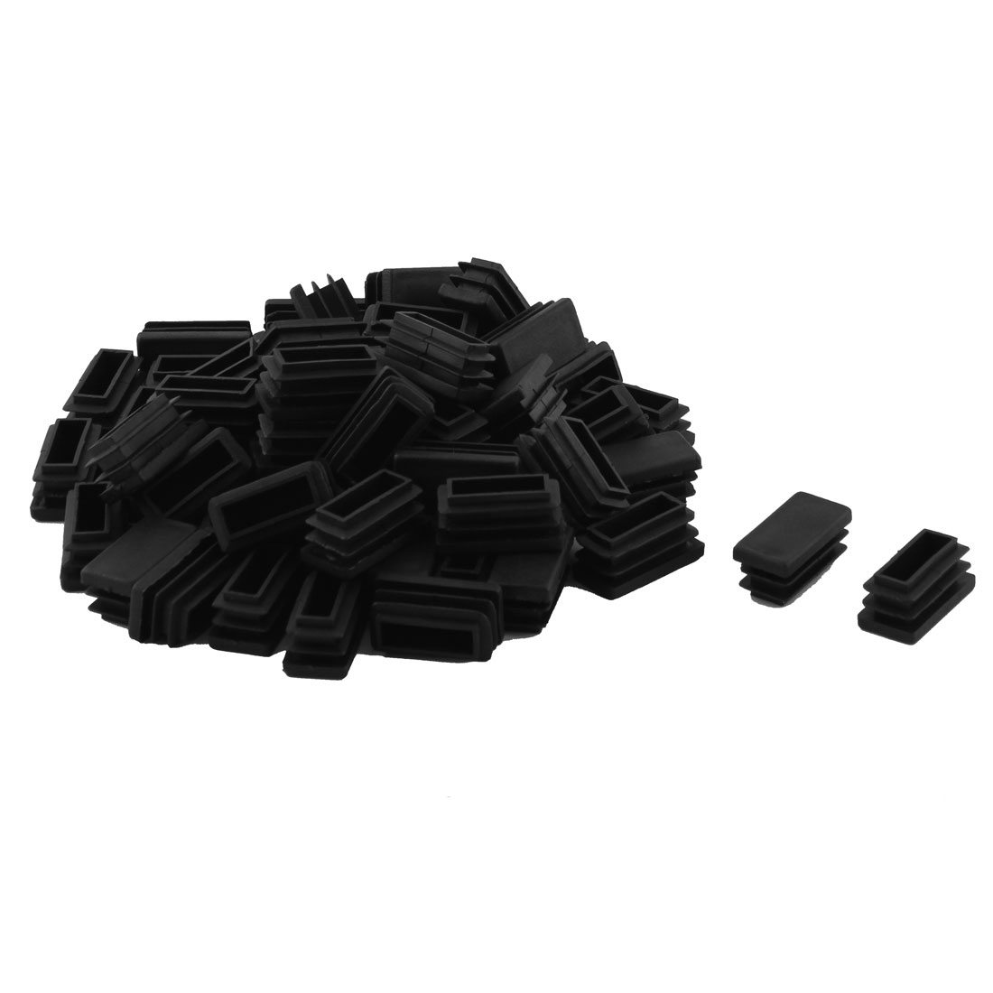 Plastic Rectangle Design Tube Insert End Blanking Cover Cap Black 15 x 30mm 60pcs