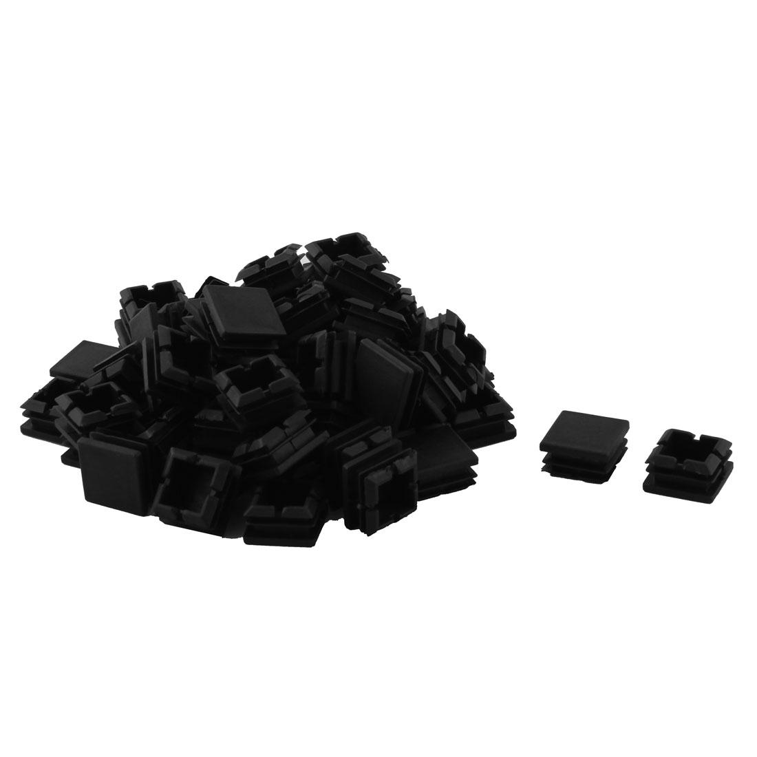 Plastic Square Design Tube Insert End Blanking Cover Cap Black 25 x 25mm 60pcs