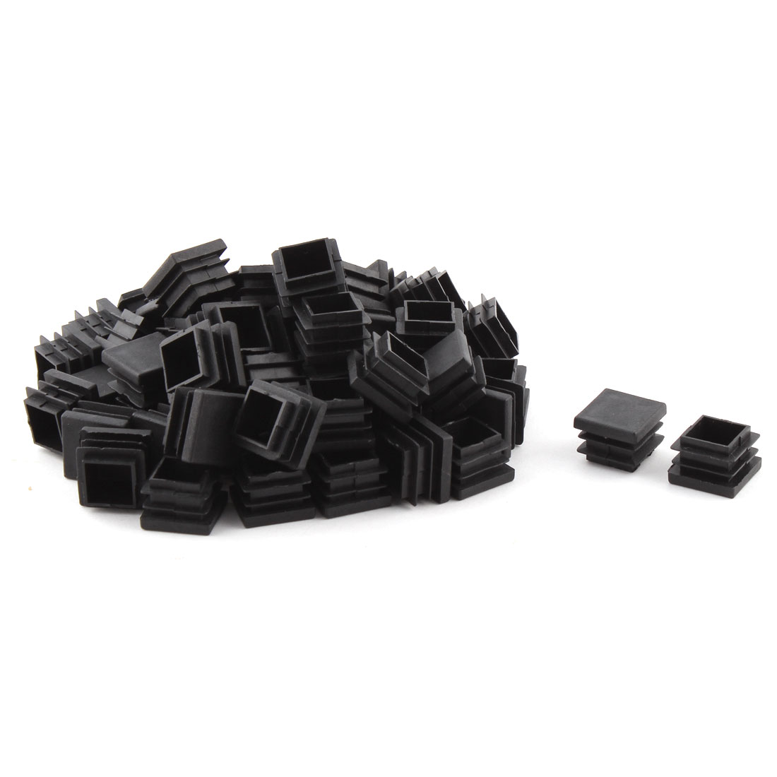 Plastic Square Design Tube Insert End Blanking Cover Cap Black 22 x 22mm 60pcs