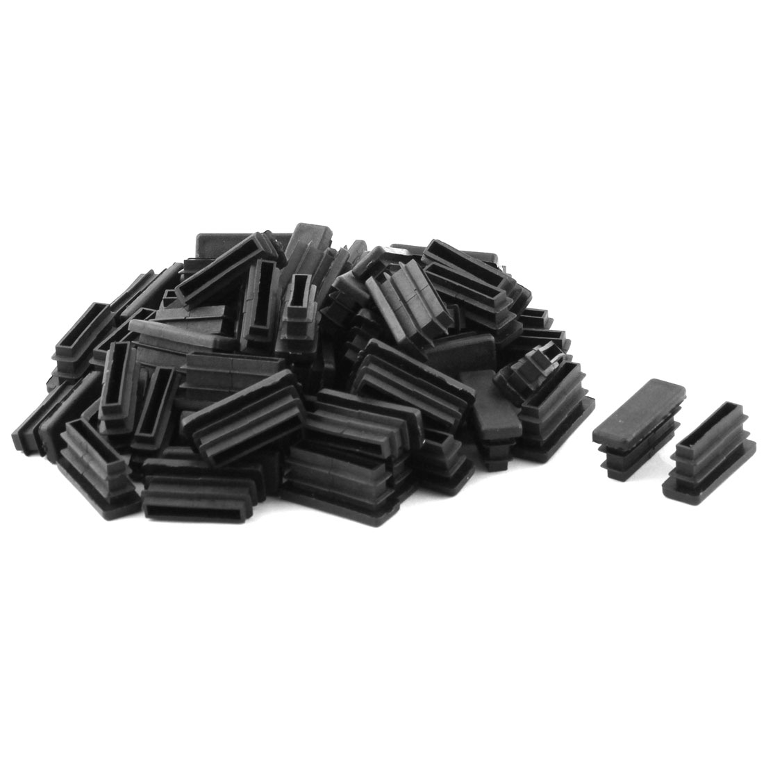 Plastic Rectangle Design Tube Insert End Blanking Cover Cap Black 10.5 x 30mm 60pcs