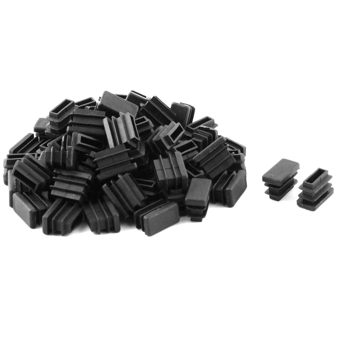 Plastic Rectangle Design Tube Insert End Blanking Cover Cap Black 10.5 x 20.5mm 60pcs