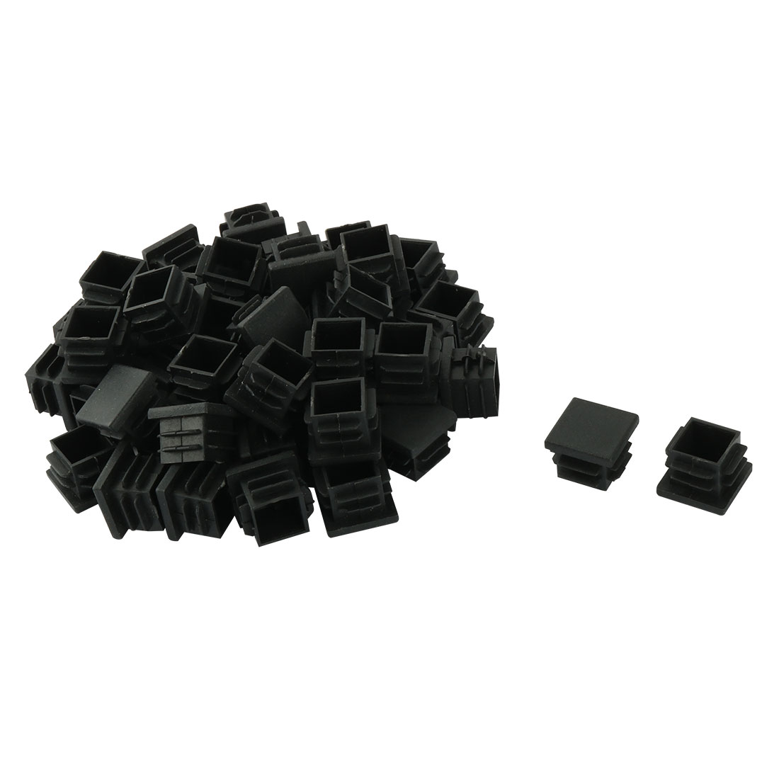 Plastic Square Design Tube Insert End Blanking Cover Cap Black 19 x 19mm 60pcs