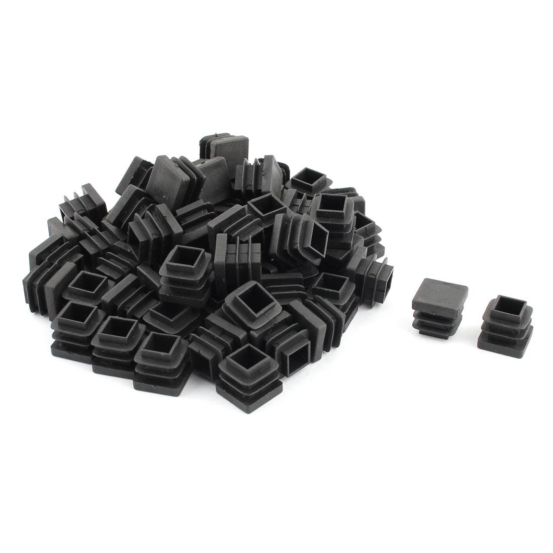 Office Plastic Square Table Cabinet Legs Mini Tube Insert Black 15 x 15mm 60 Pcs