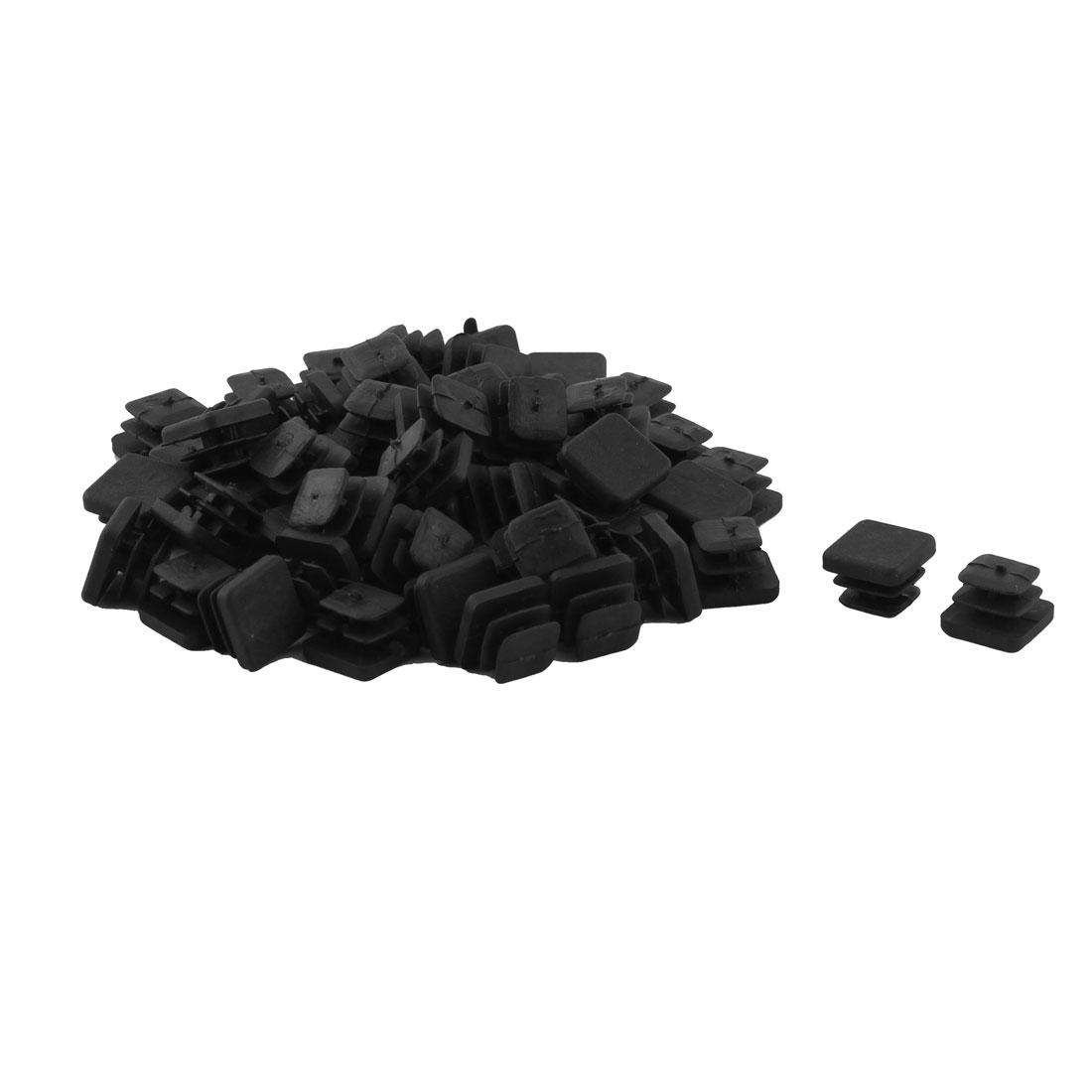 Plastic Square Design Tube Insert End Blanking Cover Cap Black 10 x 10mm 60pcs