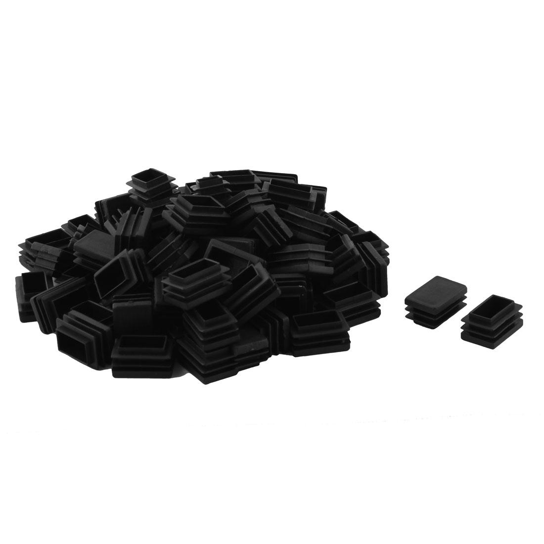 Plastic Rectangle Design Tube Insert End Cover Cap Black 20 x 30mm 80pcs