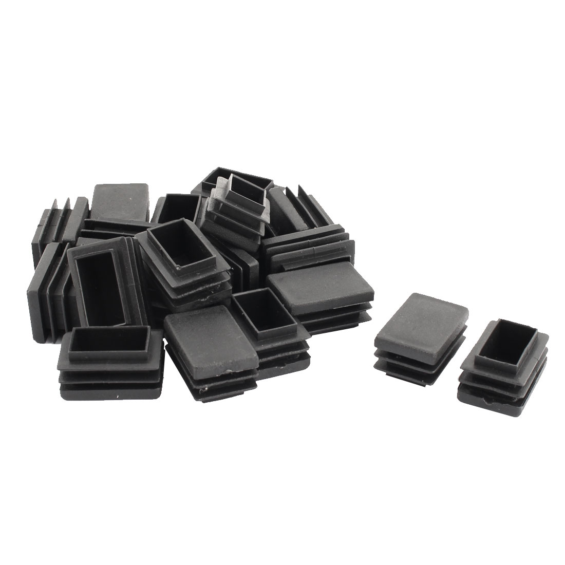 Home Office Plastic Rectangle Table Cabinet Legs Protecter Tube Insert Black 30 x 20mm 20 Pcs